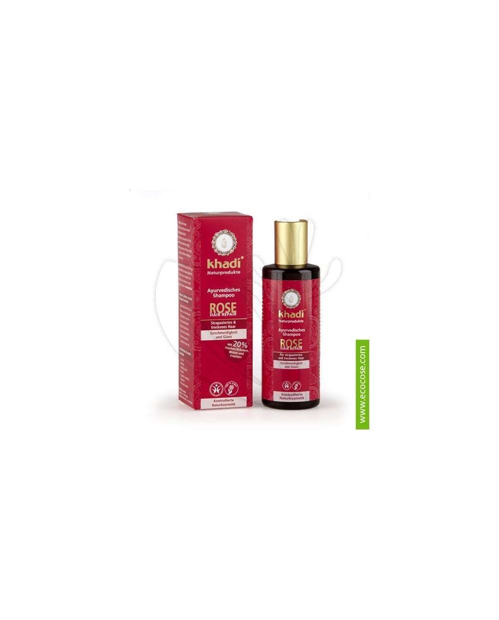 Khadi - Shampoo alla Rosa - Ristrutturante con balsamo