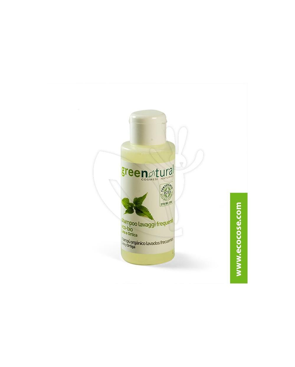 Greenatural - Shampoo lavaggi frequenti Lino e Ortica 100 ml