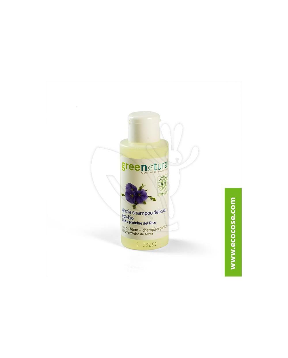 Greenatural - Doccia-shampoo delicato Lino e proteine del riso 100 ml