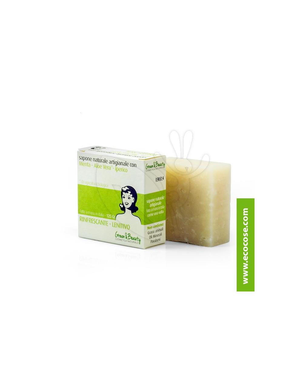Green&Beauty - Sapone naturale artigianale Menta Aloe Iperico - Rinfrescante Lenitivo