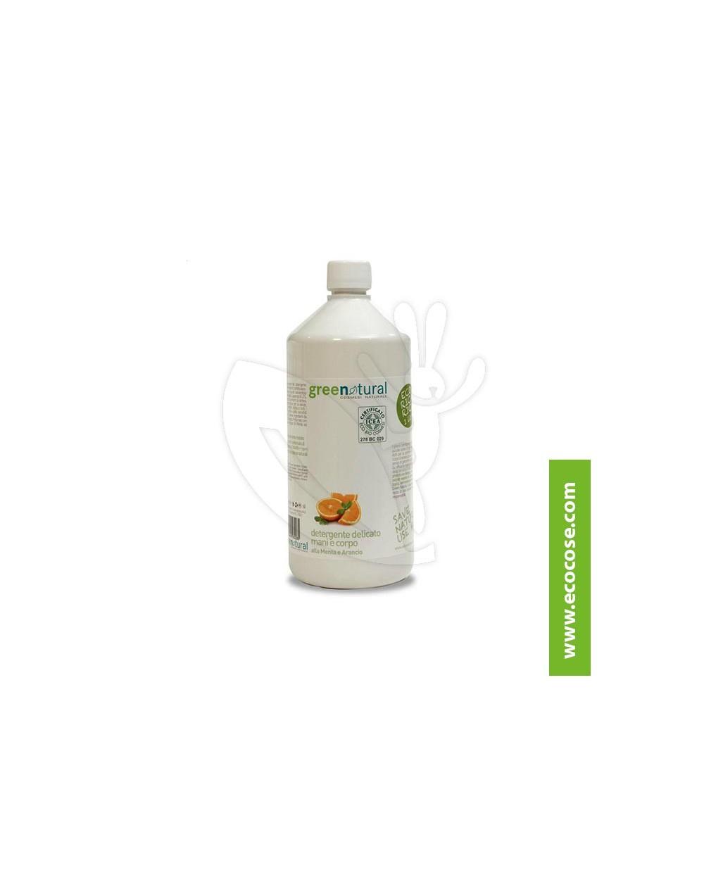 Greenatural - Detergente mani-corpo Menta Arancio RICARICA 1 LITRO