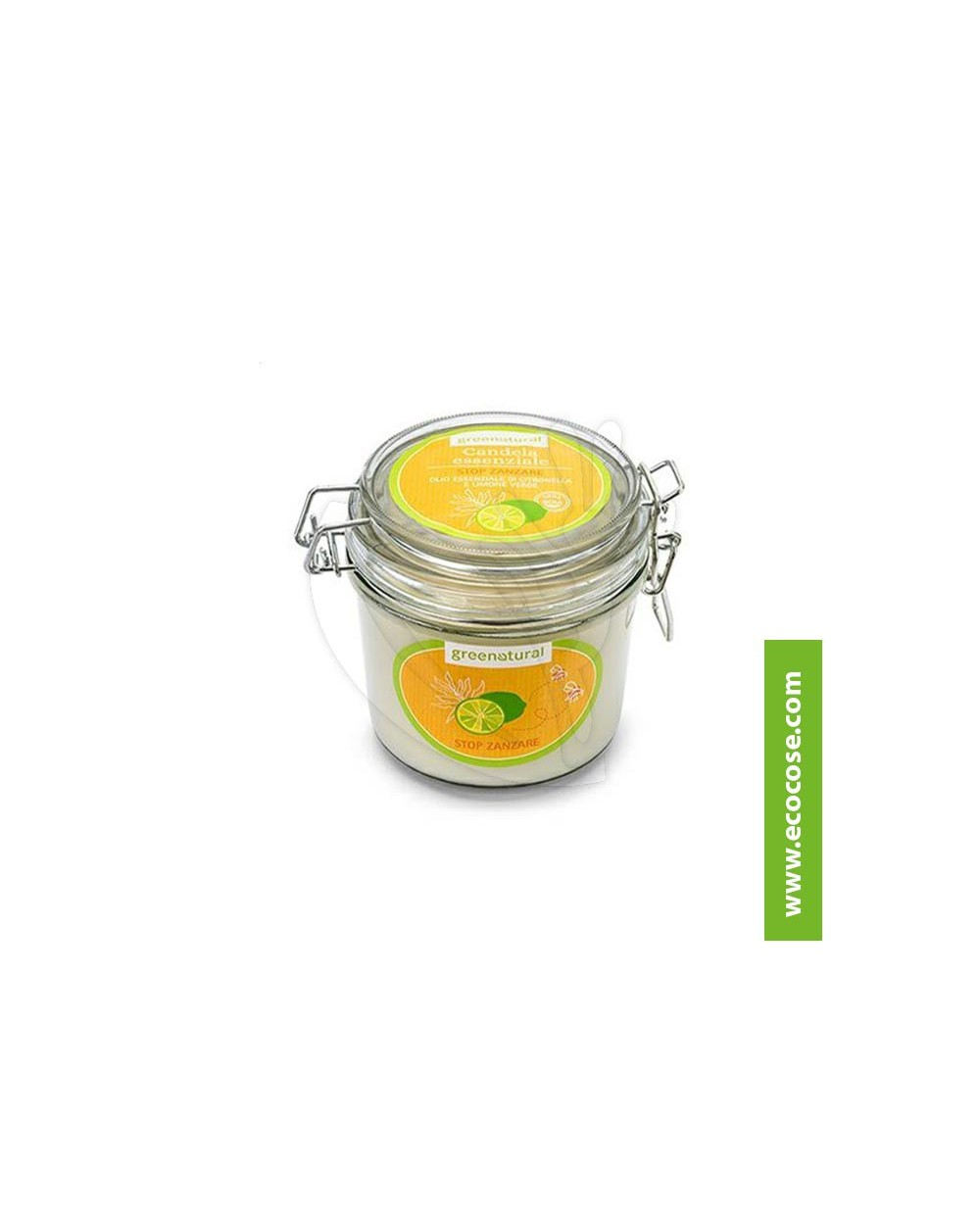 Greenatural - Candela essenziale STOP ZANZARE - Limone Verde e Citronella 200GR