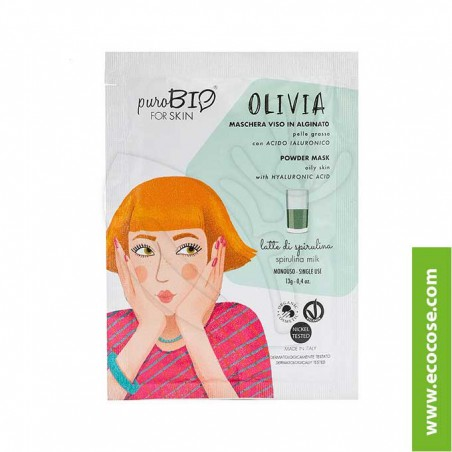 PuroBIO for skin - OLIVIA - Maschera viso in alginato - 12 Latte di spirulina