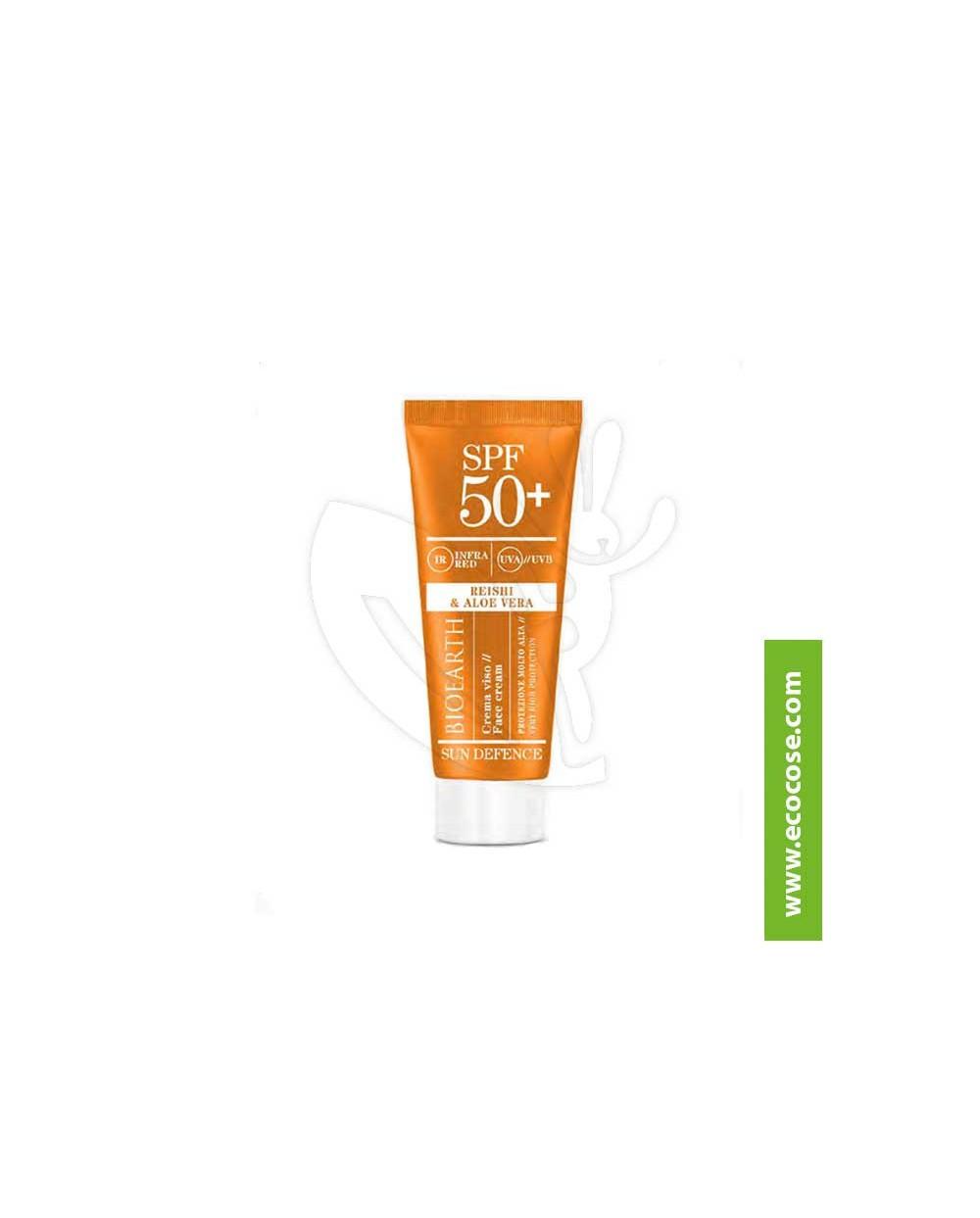 Bioearth - Sun Defence - Crema solare viso protezione molto alta spf 50+ Reishi e Aloe Vera