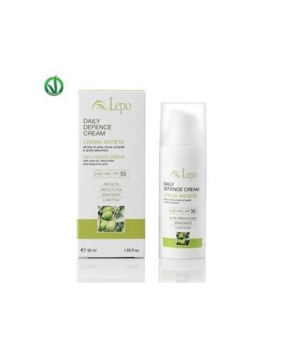 Lepo - DAILY DEFENCE CREAM - CREMA ANTIETÀ SPF 30 all'olio di oliva, burro di karitè e acido ialuronico