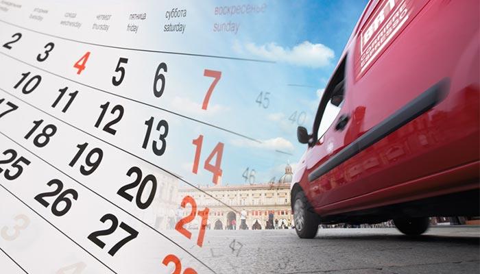 Calendario spedizioni